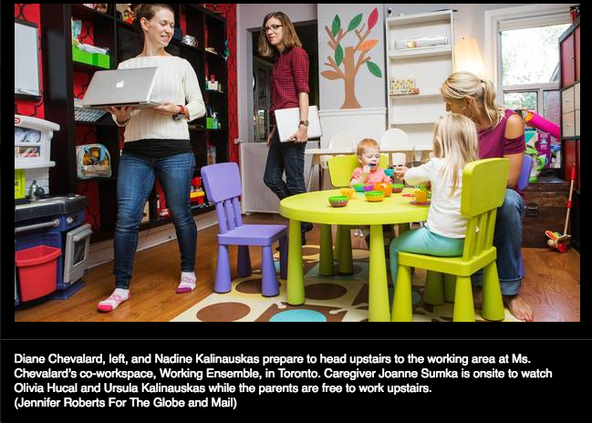 Moms prepare to head upstairs to the working area at Ms. Chevalard's co-workspace, Working Ensemble, in Toronto. The caregiver is onsite to watch the children while the parents are free to work upstairs. (Jennifer Roberts For The Globe and Mail)